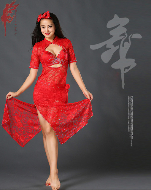 ddb4fda983e Women luxury dance clothes lady fashion dress belly dance show dress latin  dance dress red dresses