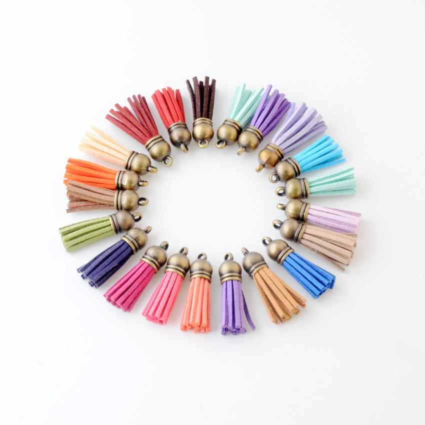 20 cái 3.8 cm Tua Cổ Điển Tua Da Fringe đối với Purl Macrame DIY Jewelry Keychain Đtdđ Dây Đeo Pendant