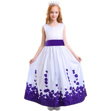 Elegant Kids Dresses for Girls Purple Petals Flower Girls Dress For Kids Wedding First Communion Princess Ball Gown Long Dress 2018 pink flower girls dresses spaghetti straps ball gown ruffles organza pageant dress for girls long girl dresses for wedding