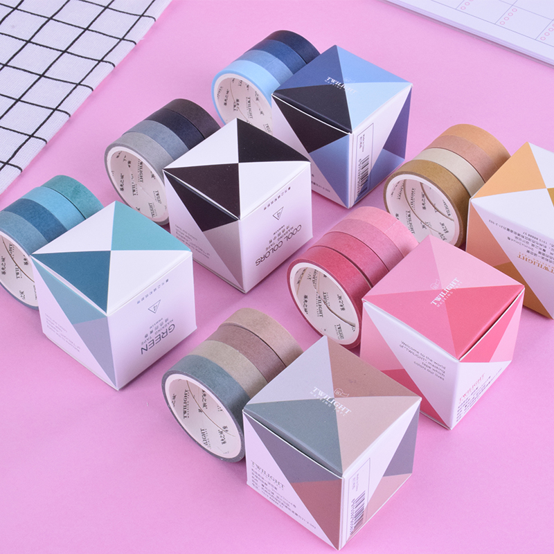 4Pcs/Box 0.9cm*3m New Simple Solid Color Washi Tape DIY Decoration Scrapbooking Planner Masking Tape Adhesive Tape Label Sticker