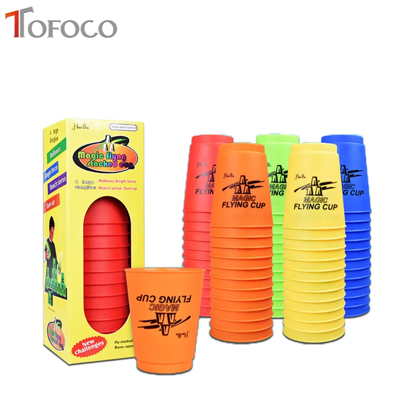 TOFOCO 12Pcs/Set Speed Cups Game Rapid Game Sport Flying Stacking Christmas Gift Hand Sports Special Shape Toys