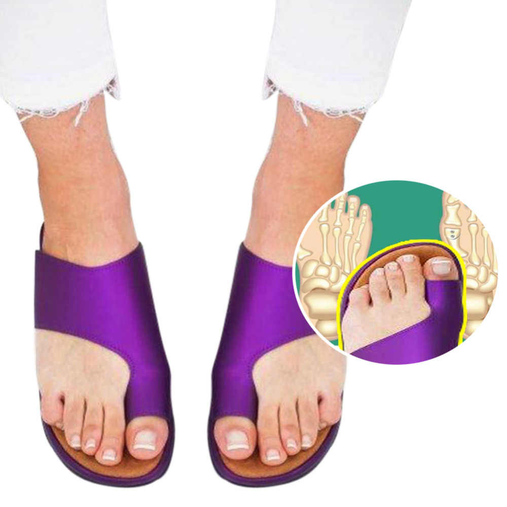 1 Pair Women Comfy Platform Sandal Shoes Feet Correct Thickened Street PU Leather Dating Shopping Flat Sole Women Sandal