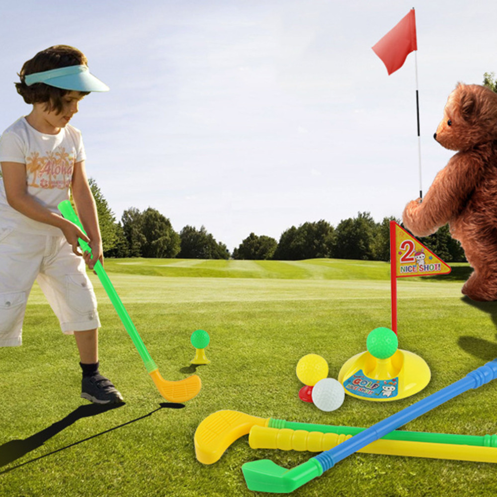 Hot Selling 1 Set Multicolor Plastic Golf Toys For Children Outdoor Backyard Sport Game