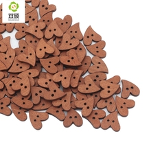 ShuanShuo 20mm 2 Eyes Printed Colorful Heart Wooden Buttons For Hat, Shoes, Clothes Diy Accessories Mixed Color 50PCS/Bag