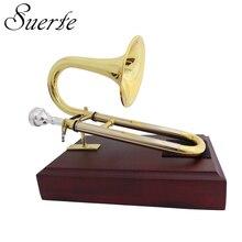 Bb/UN Soprano Tromba con boccaglio Stand Giallo ottone Diapositiva tromba strumenti musicali
