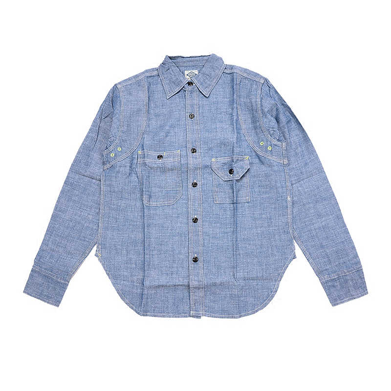 NON VOORRAAD Vintage Chambray Shirts Blauw Lente mannen Casual Denim Workshrits
