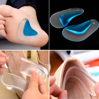 1pair Gel Heel Cushion Protector Foot Feet Care Shoe Insert Pad +1pair Orthotic Insole Flatfoot Corrector Arch Pain Support Pads Skin Care