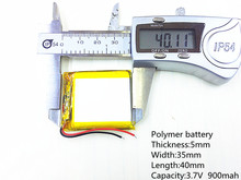 Polymer battery Thickness:5mm Width:35mm Length:40mm Capacity:3.7V 900mah For Mp3 MP4 MP5 GPS  mobile bluetooth