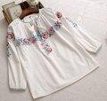 Estilo étnico bordado sash tassel v-neck Três manga trimestre Doce top camisa mori menina 2016 verão