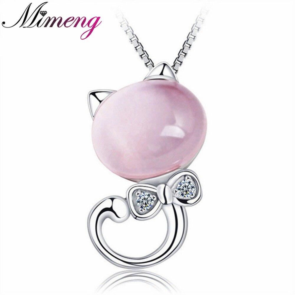 Necklace 100% 925 Sterling Silver Pendant Necklace Nature Ross Quartz Pendant Top Quality Girl Friend Gift