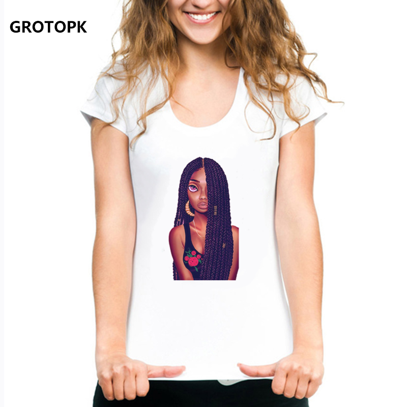 2 Bunz Melanina Poppin Aba Stampa T-shirt Per Le Donne Ragazza Nera Magia Punk Hip Pop Streetwear Nuovo Arrivo 2019 Estetica Tshirt Top