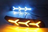 Qirun led drl дневного света для Volkswagen Polo 2014 2018 с динамическим движущимся желтым поворотным сигналом и синим ночным светом
