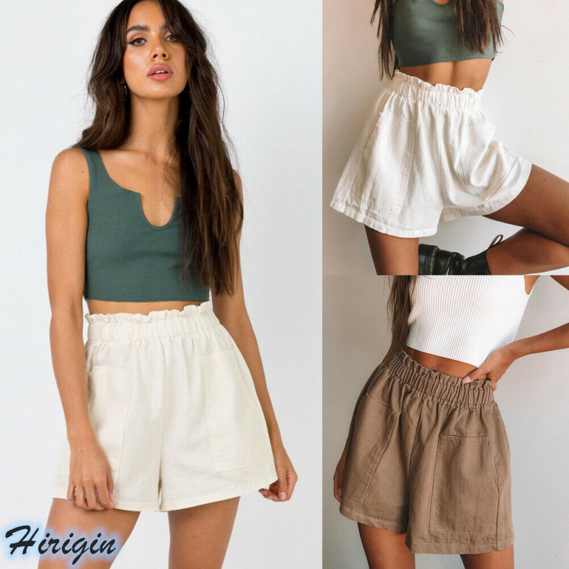 Summer Women Casual Shorts 2019 New Women Summer Casual Linen Elastic High Waist Solid Double Pockets Loose Shorts