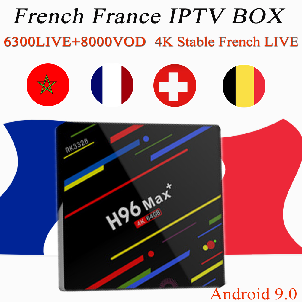 French iptv h96 max android 9.0 tv box arabic belgium canada usa uk Sweden france subscription 4K H.265 smart ip tv box m3u-in Set-top Boxes from Consumer Electronics    1