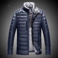 Новый Настоящее Овцы кожаные мужские короткие стиль тонкий стенд воротник кожа пуховая куртка мужской прилив модная верхняя одежда одноцв