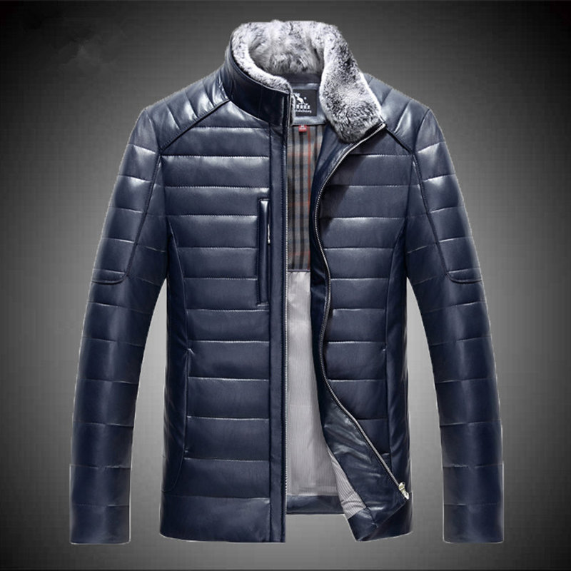 New real sheep leather men short style Slim stand collar leather down jacket male tide fashion outerwear solid color coat MZ1151