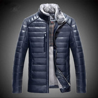 New Real Sheep Leather Men Short Style Slim Stand Collar Leather Down Jacket Male Tide Fashion