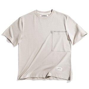 Image 3 - Мужской тяжелый хлопок свободный крой короткий рукав, круглый вырез карман Футболка