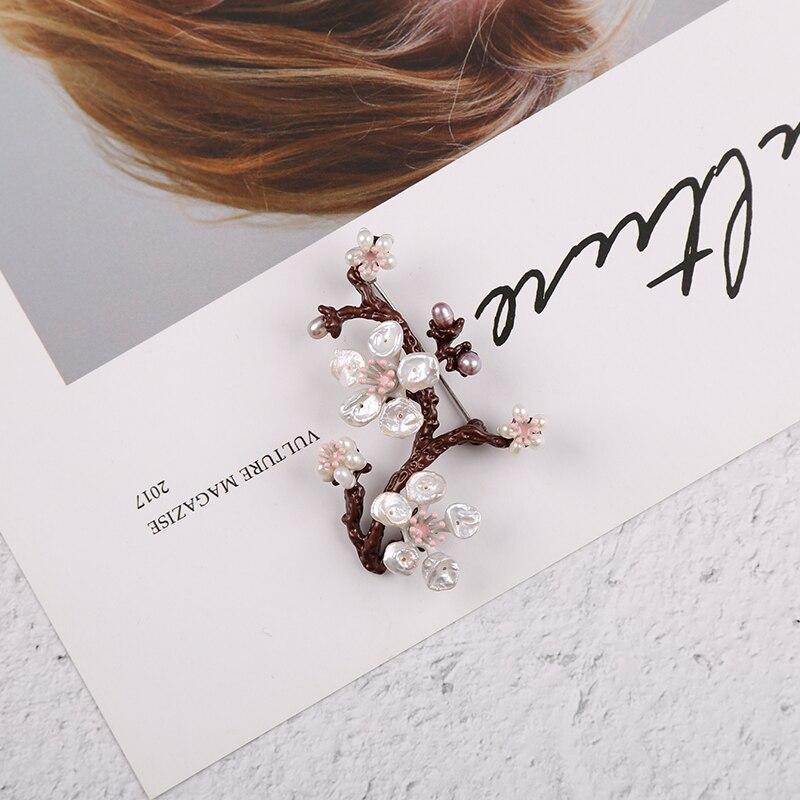 sakura natural barroco pérola latão redondo broche