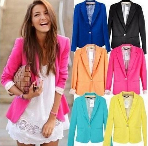 Primavera mujeres Blazers chaquetas pequeño traje de gasa color caramelo  chaqueta manga larga Slim suit botón 0758d19c2a8