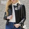 Jaquetas de couro genuíno preto 100% da pele de carneiro da motocicleta jaqueta off-centro placket zip jaqueta de couro veste en cuir femme LT969