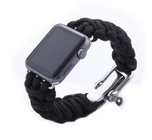 Cuerda del paracaídas de línea de relojes de banda para Apple venda de reloj inteligente iWatch correa deportes al aire bandas pulsera con adaptadores 38 MM 42 MM