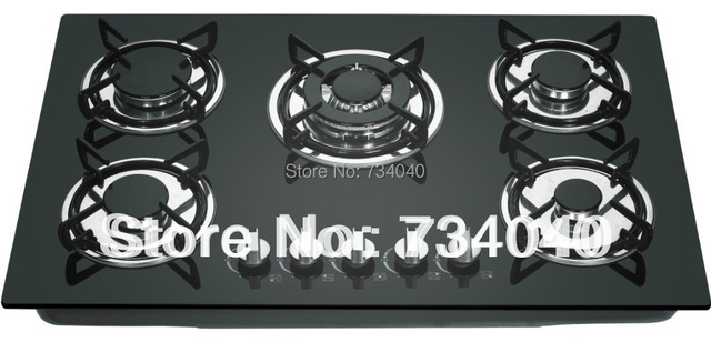 Glass Top 5 Burner Gas Stovegas Cooktop Gas Burner Gas Cooker In