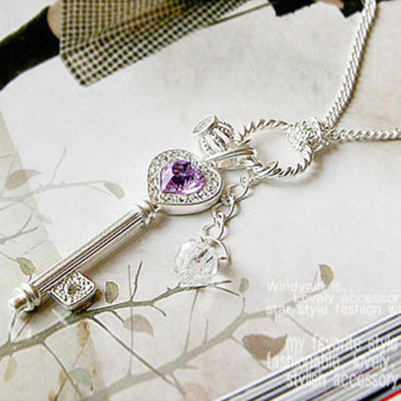 Crystal key Necklace Pendant key Necklace Women bijoux femme Gift Toy Figure Factory Direct Sale Jewelry