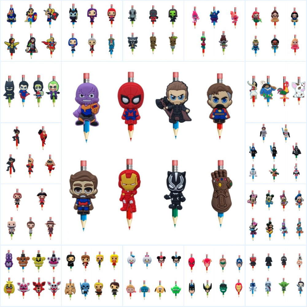 12pcs//set Avengers Pencil Toppers DIY School Stationery as Kids Party Xmas Gifts
