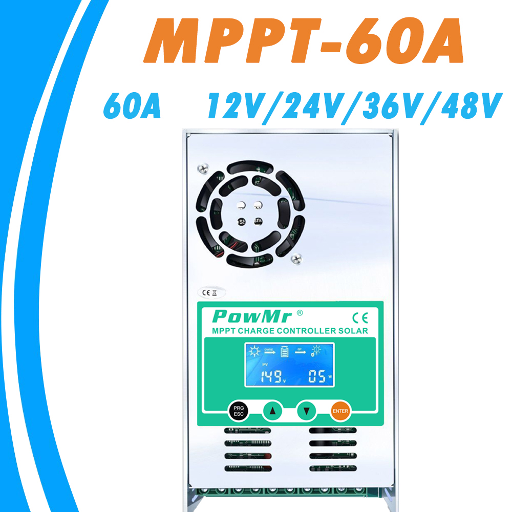 Mppt 60a carga solar e controlador de descarga 12 v 24 v 36 v 48 v auto para max 190vdc pv entrada ventilada selada gel nicd li powmr