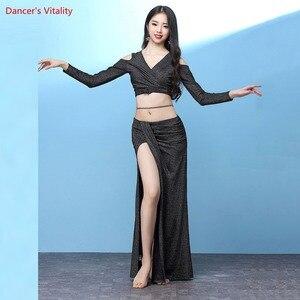 Image 2 - חדש נשים בטן ריקוד ללבוש ארוך שרוולים למעלה + ארוך חצאית סט תלבושות סט עבור בנות ריקוד תחרות סט