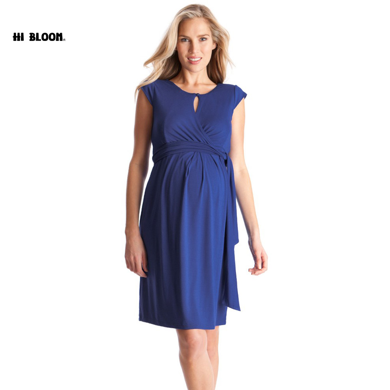 Maternity Clothing Maternity Dress Eleganta Party Dresses För Graviditet Knä Längd Aftonrock Office Lady Vestidos