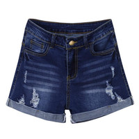 Женские короткие брюки 2019 синие брюки с низкой талией потертые рваные Мини-джинсы джинсовые брюки шорты W627