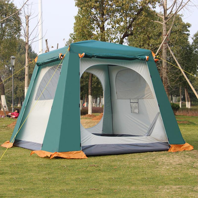 Outdoor camping large tent family party tent 4-6 person double layer waterproof Snow skirts tent