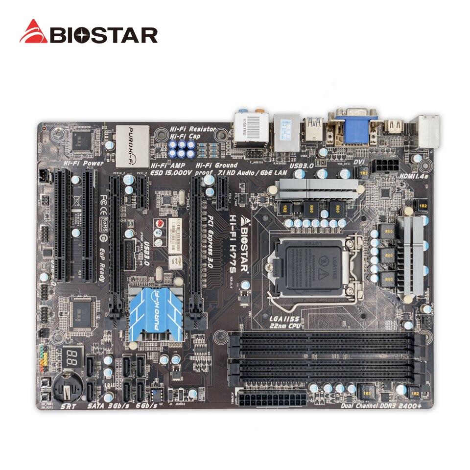 BIOSTAR Hi Fi H77S Original Used Desktop Motherboard H77 LGA 1155 DDR3 16G SATA3 USB3 0