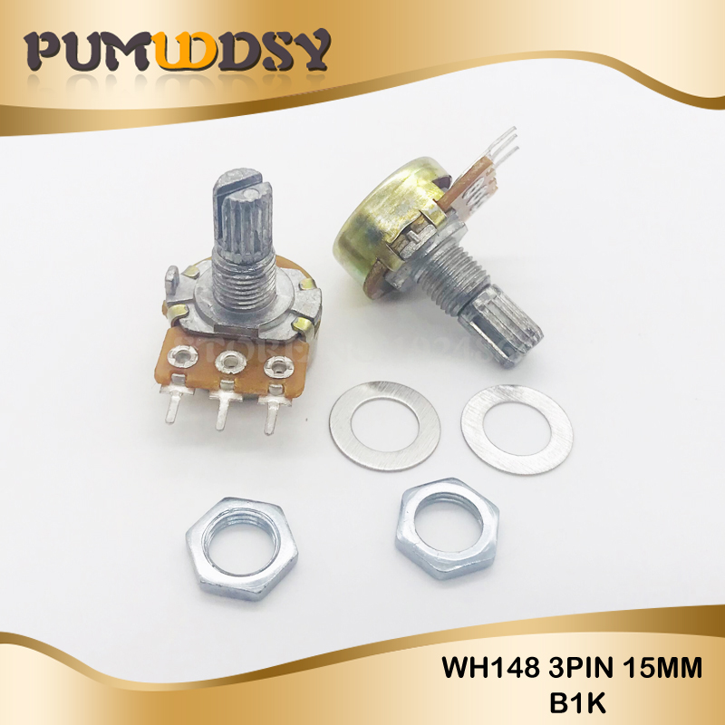 5PCS 1K ohm WH148 B1K 3pin Potentiometer 15mm Shaft With Nuts And Washers Hot-in Potentiometers from Electronic Components & Supplies