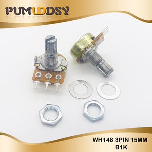 Image 1 - 5PCS 1K ohm WH148 B1K 3pin Potentiometer 15mm Shaft With Nuts And Washers Hot