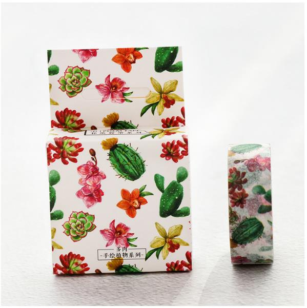 1PCS Pink Cactus Vera 15MM*7M Washi Tape Decoration Roll Decorative Sticky Paper Masking Tape Self Adhesive Tapes Scrapbook