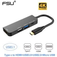 Многопортовый адаптер 4 в 1, usb c концентратор, Type C к HDMI 4k USB 3,0/2,0 Micro Usb зарядное устройство адаптер для MacBook pro Samsung Galaxy S10 s9