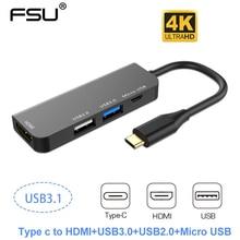 4 in 1 usb c hub multiporta adattatore di Tipo C a HDMI 4k USB 3.0/2.0 Micro Usb adattatore di caricabatteria per MacBook pro Samsung Galaxy S10 s9