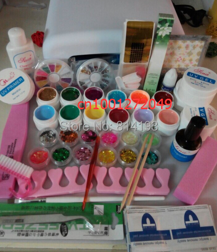 2018 Professional Full Set mix 12 color UV Gel Kit Brush Nail Art Set + 36W Curing UV Lamp kit Dryer Curining