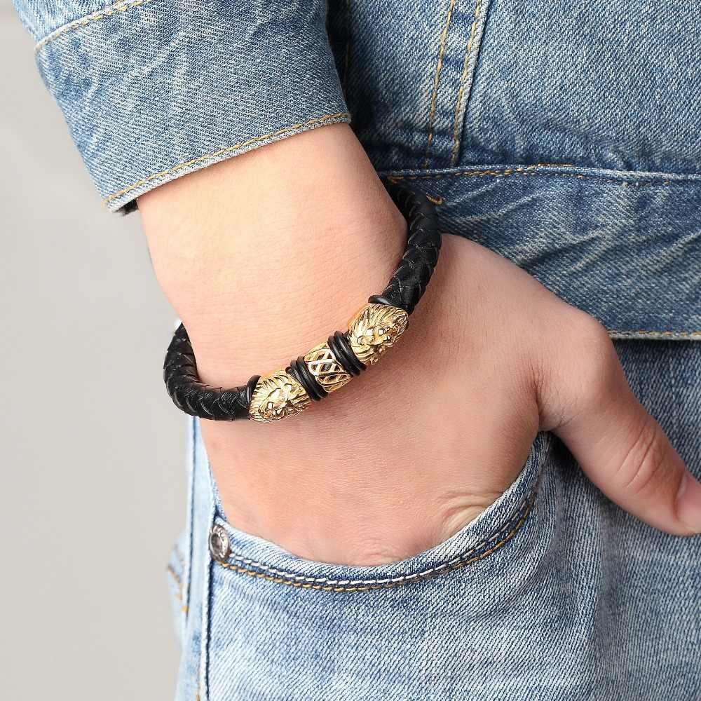 Bracelets et Bracelets Bracelets pour femme en acier inoxydable en cuir véritable doré