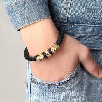 Gold Genuine Leather Stainless Steel Bracelets For Women Bracelets & Bangles Trendy Men Jewelry Fashion Charm Leather Bracelet 1