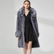 real silver fox fur coat Women's hot natural long fur coats real fur overcoat