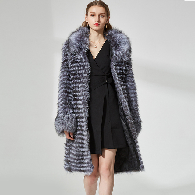 real silver fox fur coat Women's hot  natural long fur coats real fur overcoat
