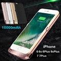 10000 мАч Внешних банка Мощность Обновления резервной батареи Дело Зарядное Устройство Для iPhone 6 6 s Плюс 7 Плюс 7 с закаленное стекло фильм линия USB