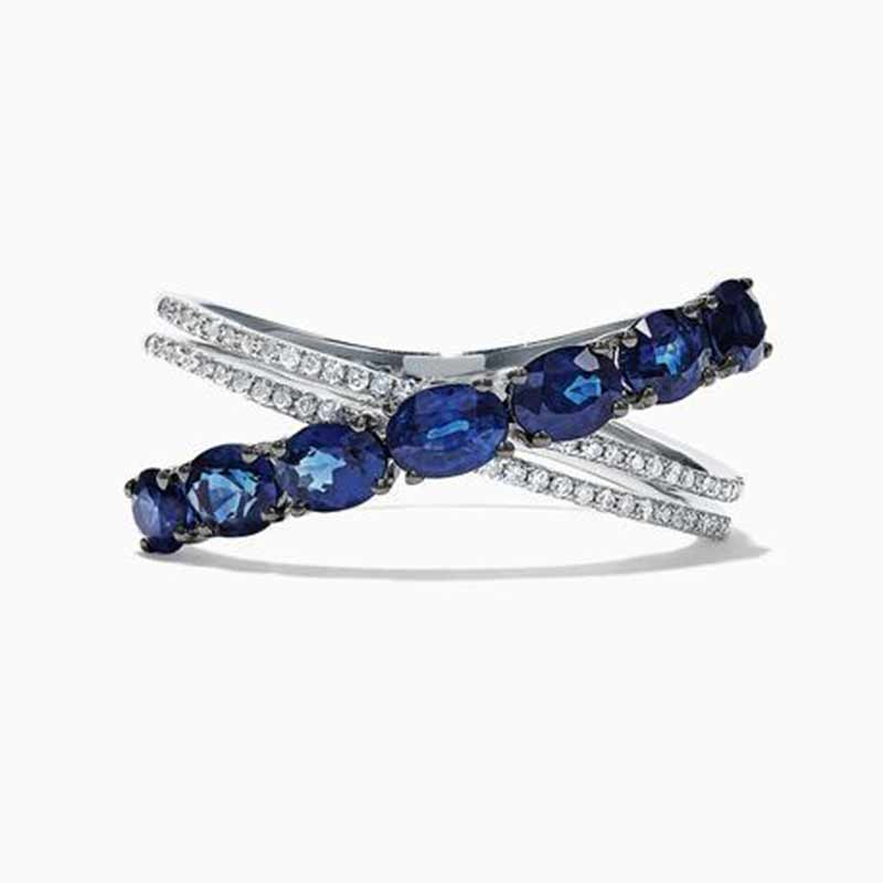 Huitan-anillos con forma de letra X para mujer, accesorios diarios, joyería de estilo O/L con piedra de circón azul, regalo de cumpleaños para niña