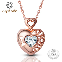 Angel Caller 925 Sterling Silver Hollow Heart shaped Pendant Gold Rose Pendant Lucky Zircon Necklaces for Mom Women Fine Jewerly