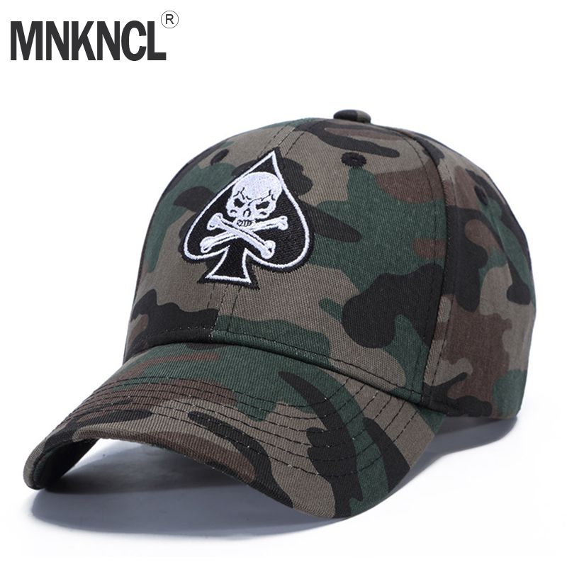 MNKNCL High Quality Unisex Camouflage Outdoor Baseball Cap Skull Embroidery Snapback Fashion Sports Hats For Men & Women Caps fashion sports baseball cap men