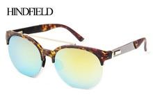 HINDFIELD de Oro gafas de Sol de Mujer de Marca de Moda Medio Capítulo gafas de sol mujer